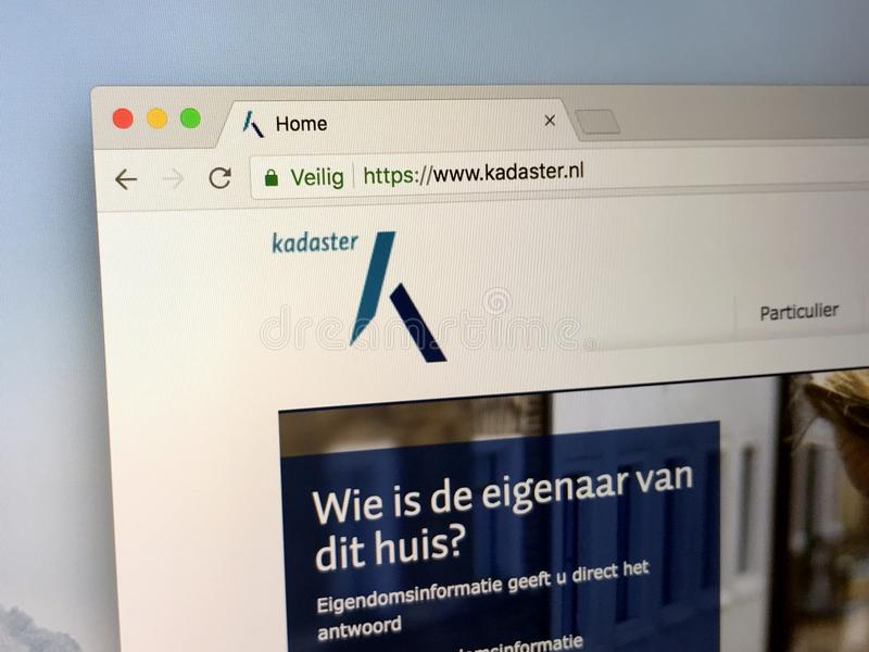 Homepage of the Dutch Kadaster. Amsterdam, Netherlands - May 15, 2018: Website of the Dutch Kadaster, a Dutch Cadastre, Land Registry and national mapping agency royalty free stock photo