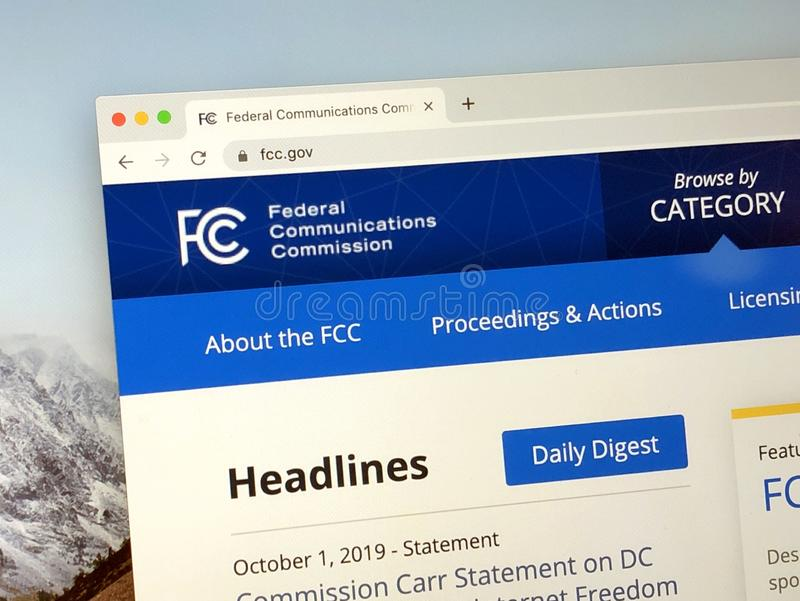 Homepage of The Federal Communications Commission FCC. Washington, D.C., United States - October 1, 2019: Website The Federal Communications Commission or FCC royalty free stock images
