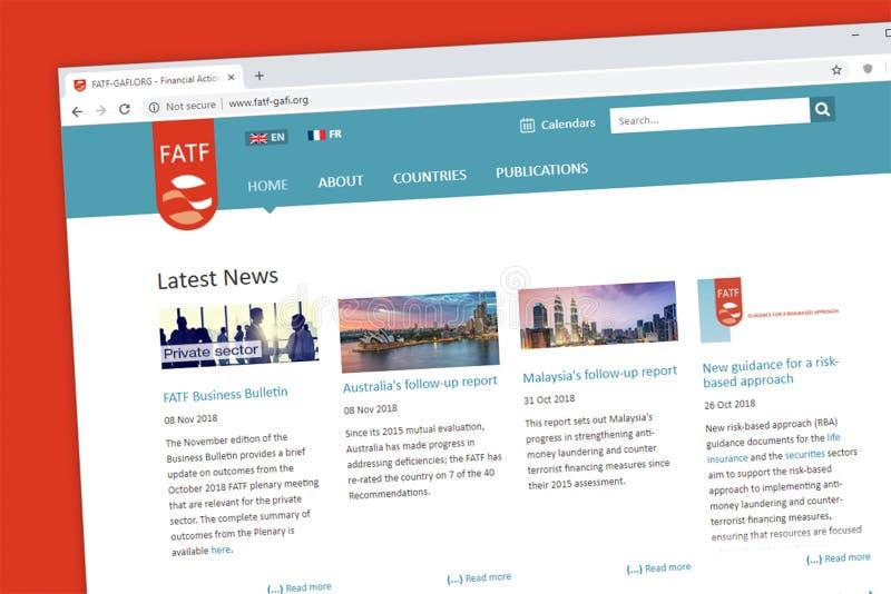 Homepage financeiro do grupo de trabalho da ação ou do Web site de FATF fotografia de stock