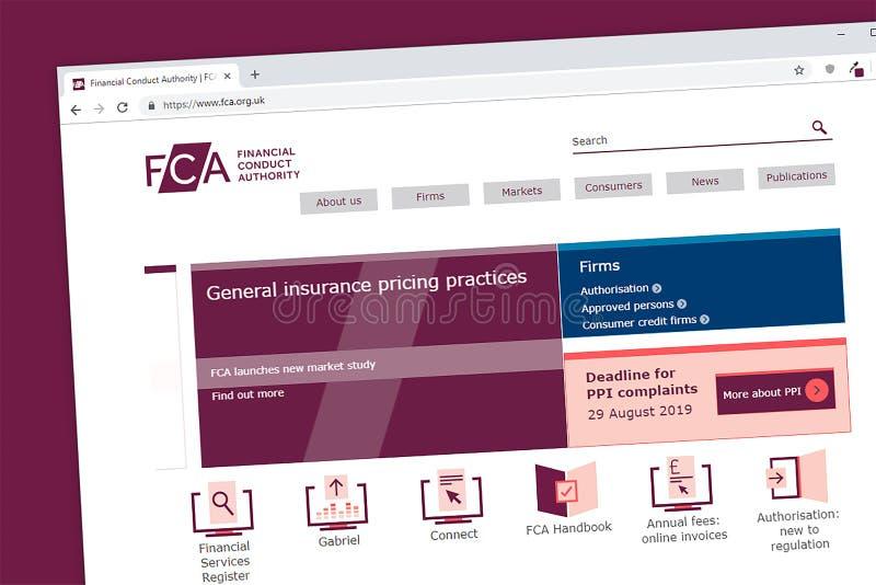 Homepage finanziario del sito Web di autorità FCA di comportamento immagini stock
