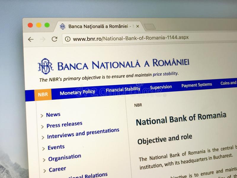 Homepage National Bank Rumunia obraz royalty free