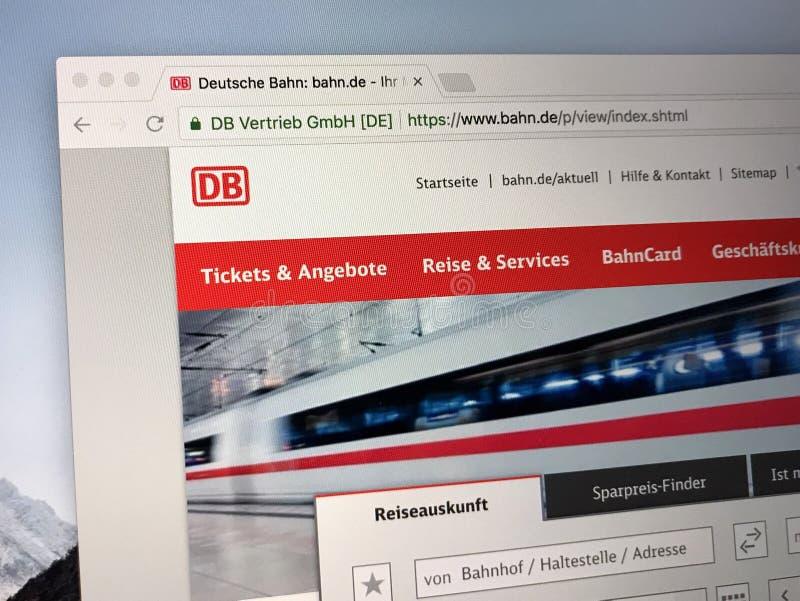 Homepage Niemiecka obywatela poręcza firma Deutsche Bahn lub DB fotografia stock