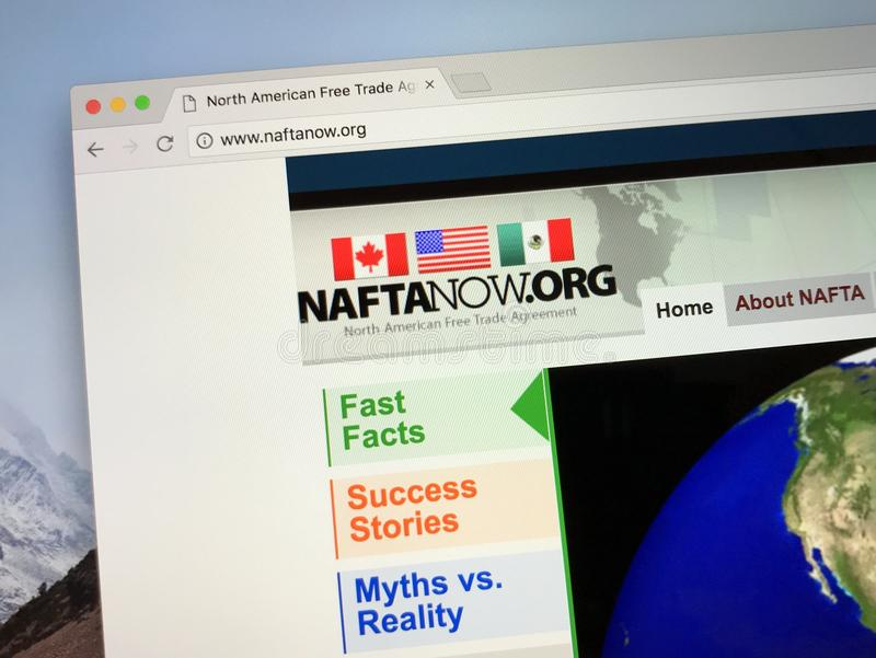 Homepage of The North American Free Trade Agreement NAFTA royalty free stock image