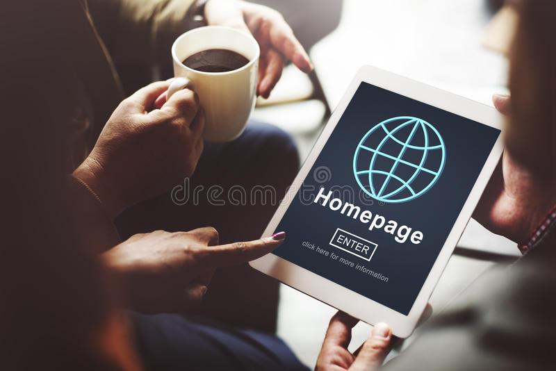 Homepage Online Technlogy Internet Website Concept stock images