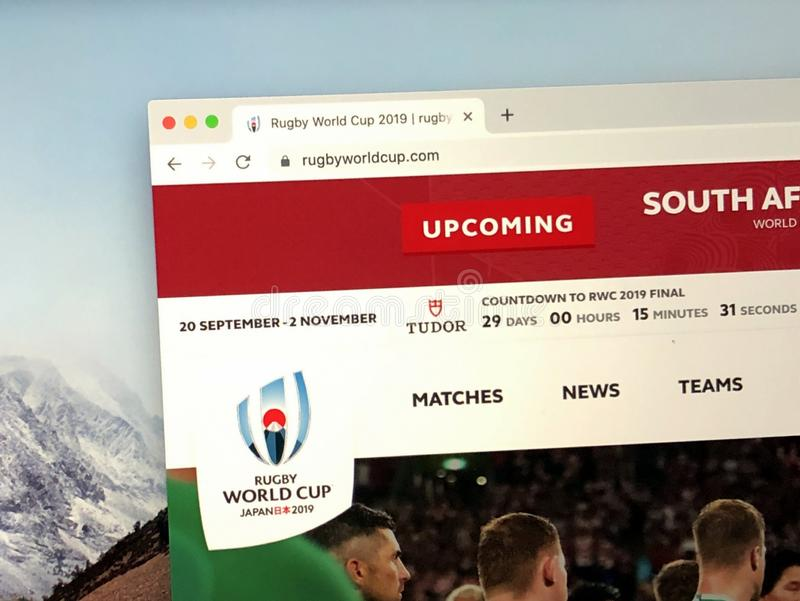 Homepage of the Rugby World Cup. stock photography