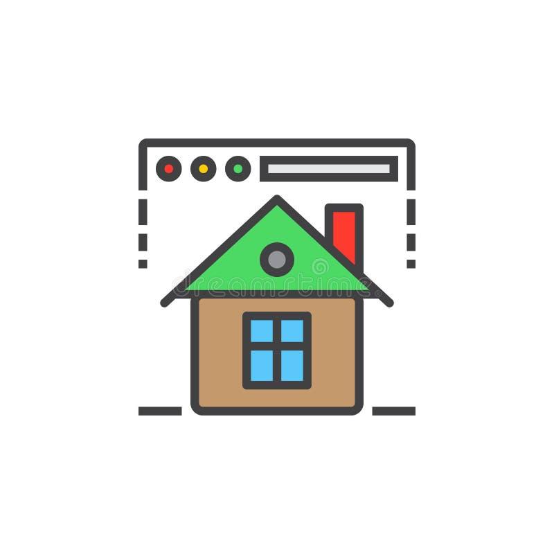 Homepage symbol przeglądarki internetowej i domu kreskowa ikona, wypełniający kontur ilustracji