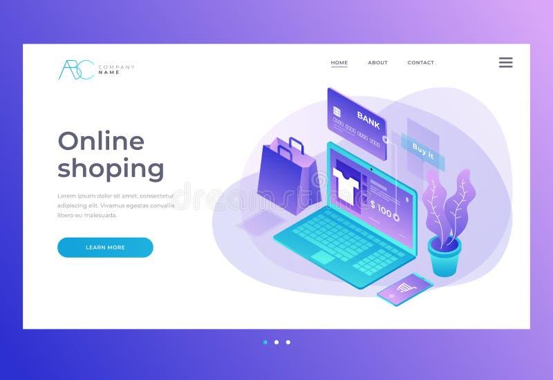 homepage Titel für Website und bewegliche Website Konzept des on-line-Shops, Online-Shop Übergangsgeld von der Karte lizenzfreie abbildung