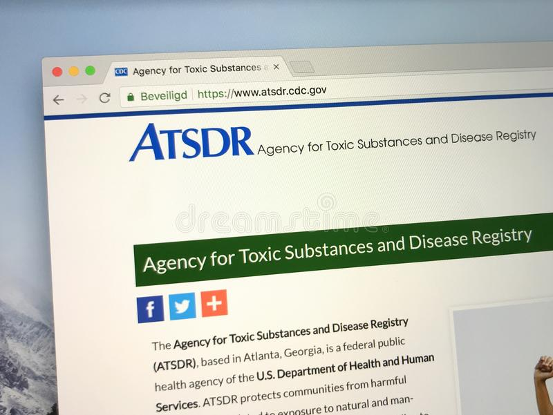 Homepage of The U.S. Agency for Toxic Substances and Disease Registry - ATSDR. Amsterdam, the Netherlands - July 7, 2018: Website of The U.S. Agency for Toxic stock photo