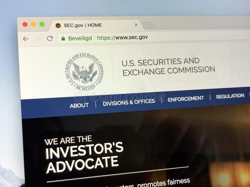 Homepage of The U.S. Securities and Exchange Commission - SEC. Amsterdam, the Netherlands - June 24, 2018: Website of The U.S. Securities and Exchange Commission stock photos