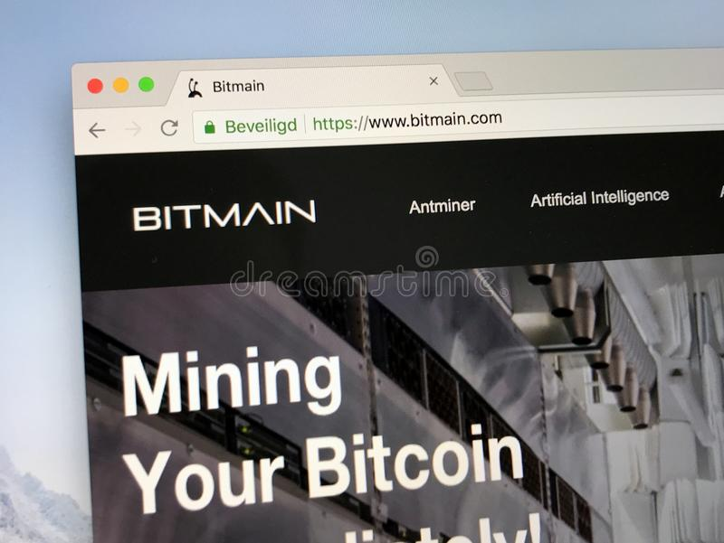 Homepage van Bitmain stock foto's