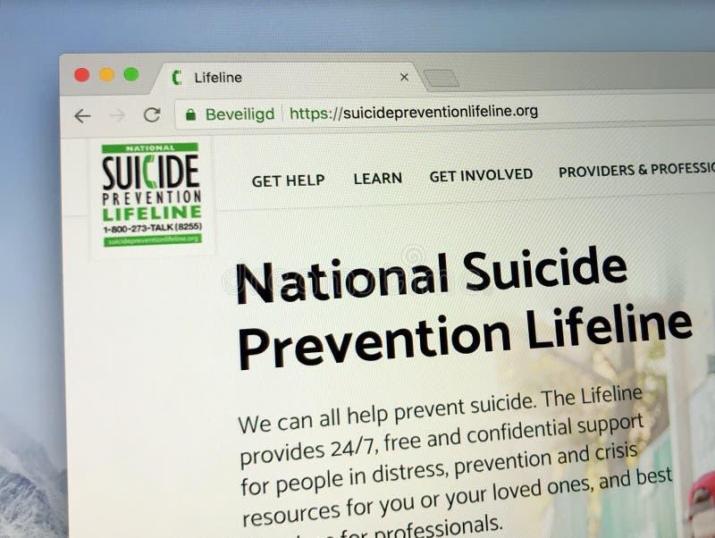 Homepage van de Amerikaanse Nationale Reddingslijn van de Zelfmoordpreventie stock afbeelding