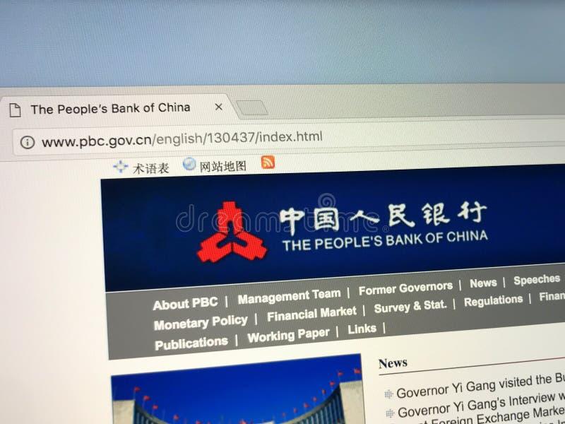 Homepage van de Mensen` s Bank van China royalty-vrije stock foto's