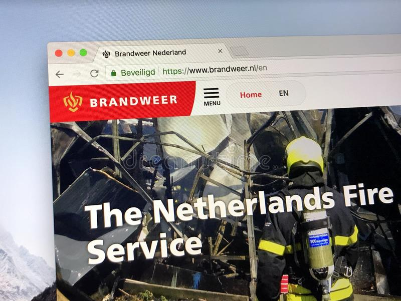 Homepage van de Nederlandse Brandbrigade royalty-vrije stock foto