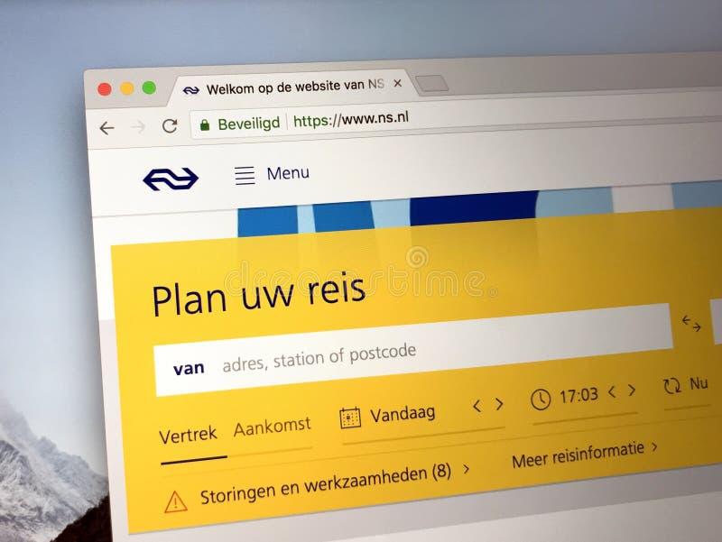 Homepage van de Nederlandse Spoorwegen royalty-vrije stock fotografie