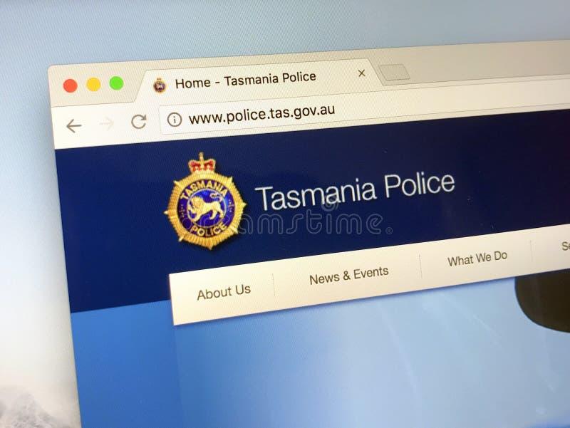 Homepage van de Politiemacht van Tasmanige stock fotografie