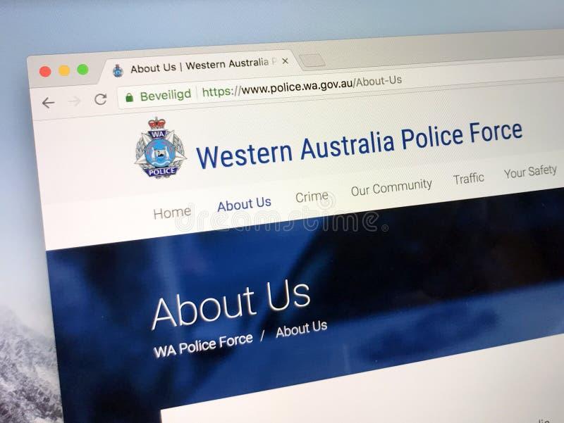 Homepage van de Politiemacht van Westelijk Australië stock afbeeldingen