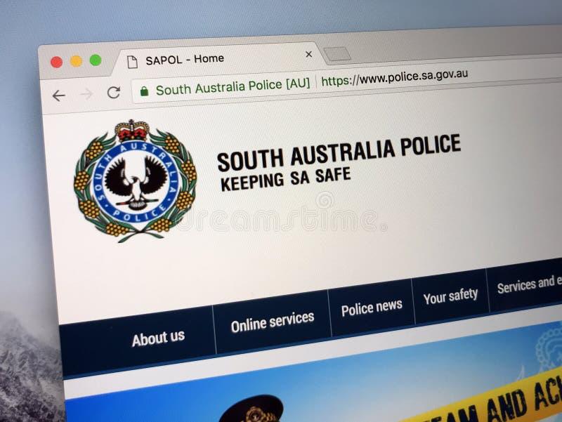 Homepage van de Politiemacht Zuid- van Australië stock afbeeldingen