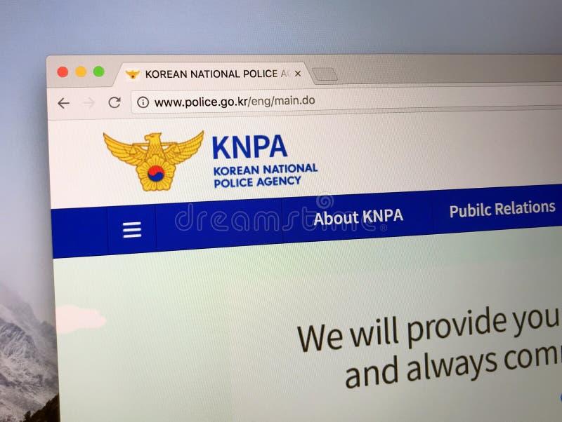 Homepage van het Koreaanse Nationale Politieagentschap stock foto's