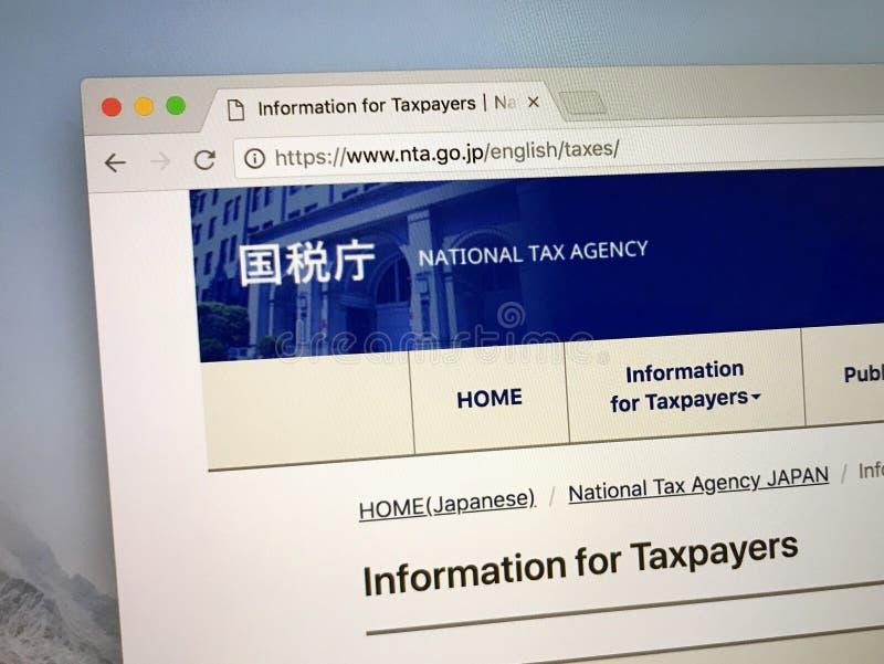 Homepage van het Nationale Belastingsagentschap van Japan royalty-vrije stock foto