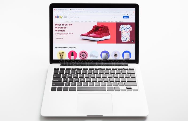 Homepage van officiële website voor Ebay, online veiling en verkoopwebsite royalty-vrije stock afbeeldingen