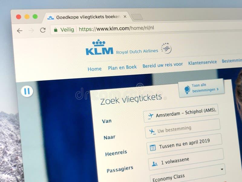 Homepage van Royal Dutch-Luchtvaartlijnen KLM royalty-vrije stock foto's
