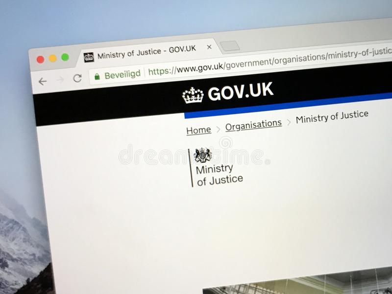 Homepage van U K overheidswebsite het Ministerie van justitie stock afbeeldingen