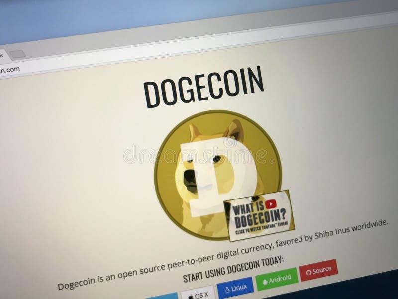 Homepage von Dogecoin stockfoto