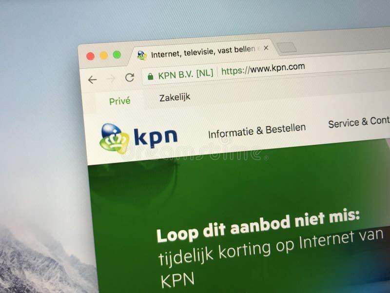 Homepage von KPN, von niederländischen Überlandleitung und von beweglicher Telekommunikationsgesellschaft stockfotos
