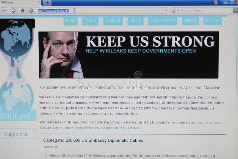 Homepage wikileaks. The Internet site page assange wikileaks confidential documentation royalty free stock photos