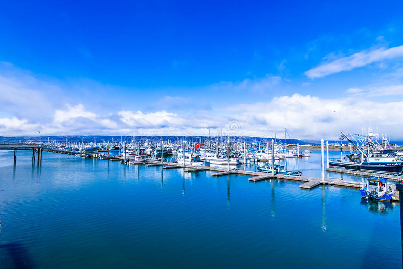 Homer Alaska. The harbor in Homer, Alaska remains tranquil under a blue sky stock image