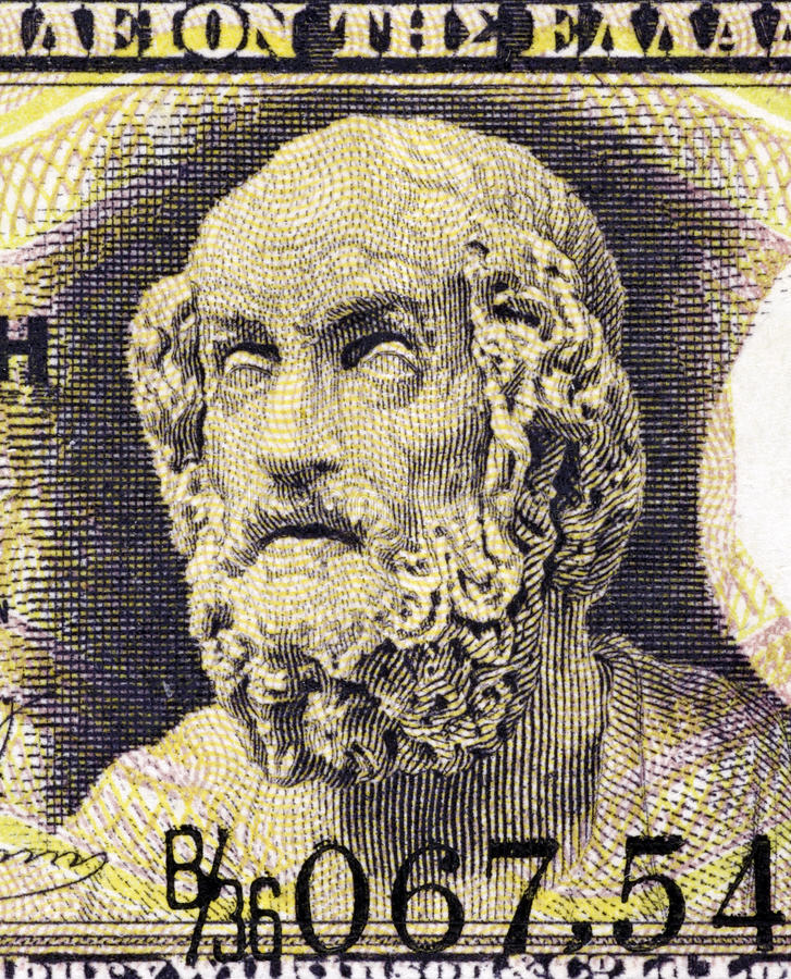 Homer. On 1 Drachma 1917 Banknote from Greece. Author of the Iliad and the Odyssey, considered as the greatest of ancient Greek epic poets. His epics lie at the stock photography