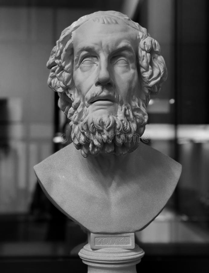 A bust of the legendary ancient poet Homer, a Greek Icon royalty free stock images