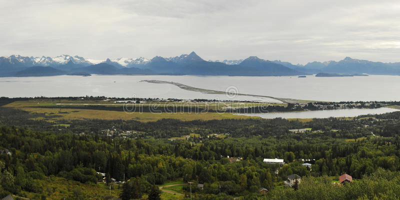 Homer Panorama. Panoramic view of Homer Alaska, showing the Homer Spit stock photography