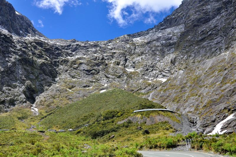 Homer tunnel under Darran Mountain on Milford Sound Highway. Fiordland, New Zealand stock photography