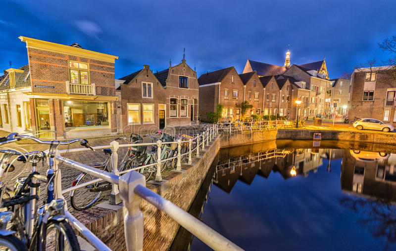 Homes of Alkmaar, The Netherlands at night stock photography