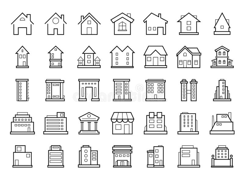 Homes and Buildings. Set of outline modern futuristic building icons stock photos