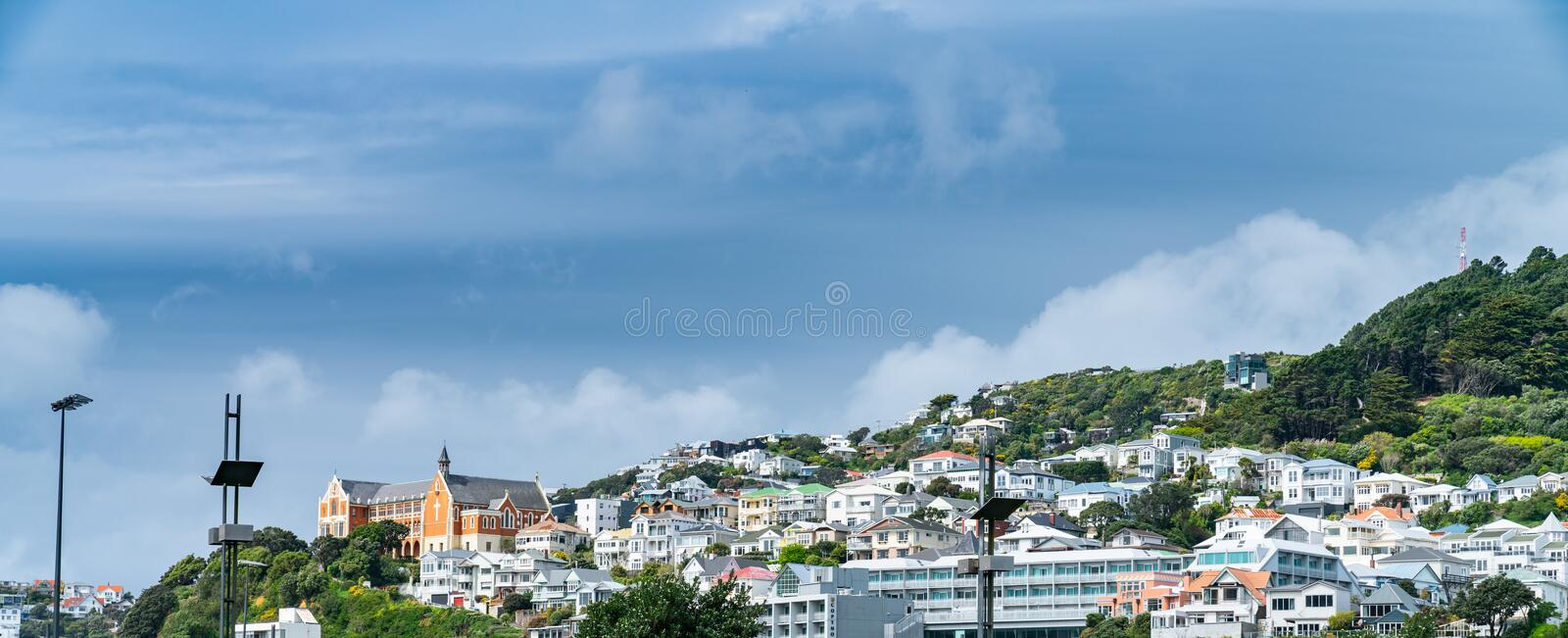 Homes and buildings on slopes of Mount Victoria. Wellington, New Zealand stock images