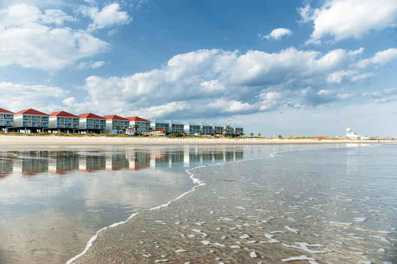 Homes at the coast of the Atlantic ocean. View at the homes at the coast of the Atlantic ocean in the United States in day light stock photo