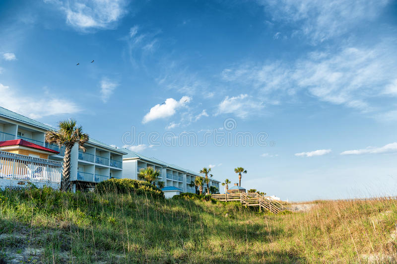 Homes at the coast of the Atlantic ocean. View at the homes at the coast of the Atlantic ocean in the United States in day light royalty free stock photos