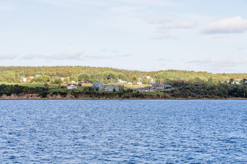 Homes on Coast of Sydney Nova Scotia royalty free stock photo
