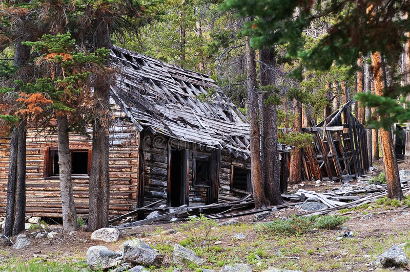 Homes in a Ghost Town. Remains of homes found in the ghost town of Coolidge, Montana stock images