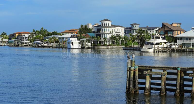 Homes and timeshares on Fort Myers Beach. Waterfront homes facing Matanzas Bay in downtown Fort Myers Beach, Florida, USA stock photos