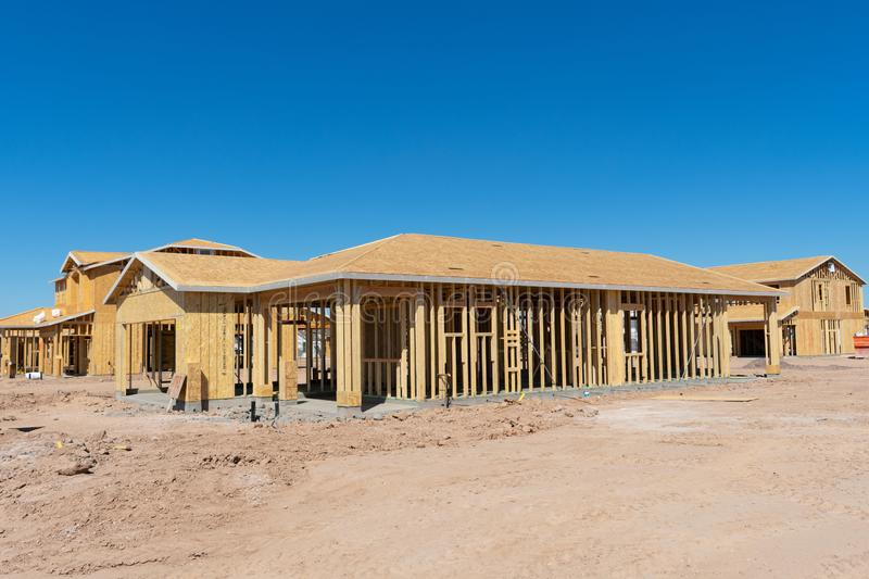 Homes under construction in a new development royalty free stock images
