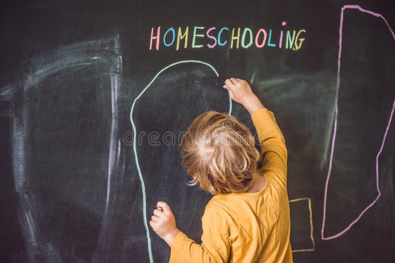 homeschooling Der Junge zeichnet unter Wort Homeschooling auf a lizenzfreie stockfotos