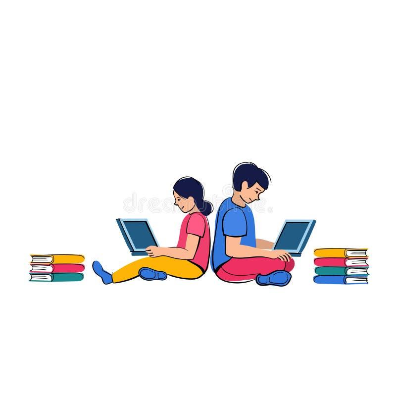 homeschooling Les enfants s'asseyent aux ordinateurs portables et à l'étude loin dans en ligne à l'école illustration stock