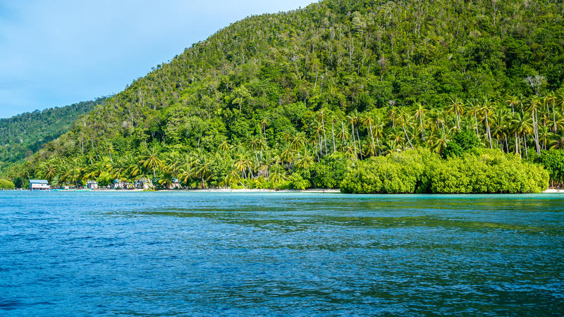 Homestay Bamboo hut on Monsuar Island. Raja Ampat, Indonesia, West Papua.  royalty free stock images