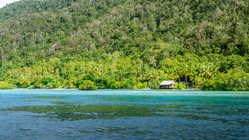 Homestay Bamboo hut on Monsuar Island. Raja Ampat, Indonesia, West Papua.  stock image