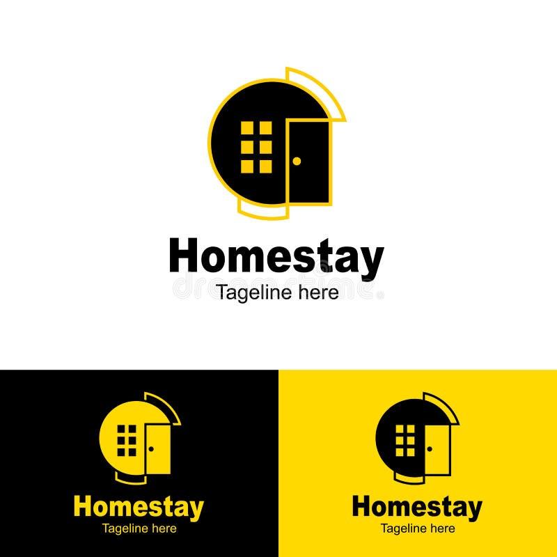 Homestaylogominimalist, enkel bakgrund för logosymbolshomestay - vektor stock illustrationer