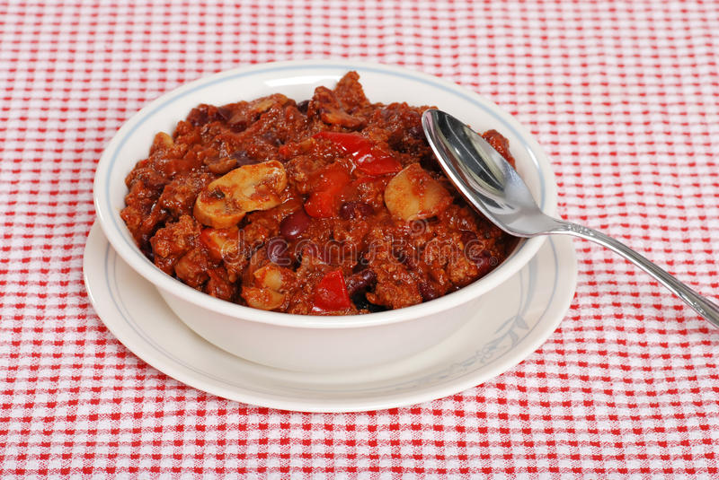 Download Homestyle Chili With A Spoon Stock Image - Image: 12359945