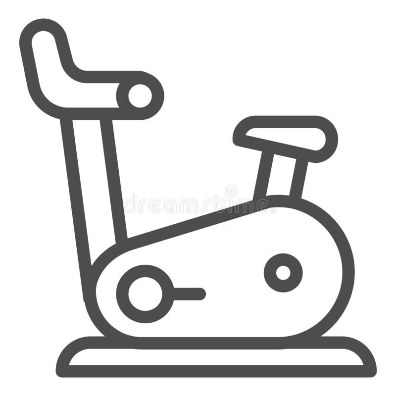 Hometrainerlinie Ikone Turnhallenfahrrad-Vektorillustration lokalisiert auf Weiß Eignungsentwurfs-Artentwurf, entworfen für stock abbildung